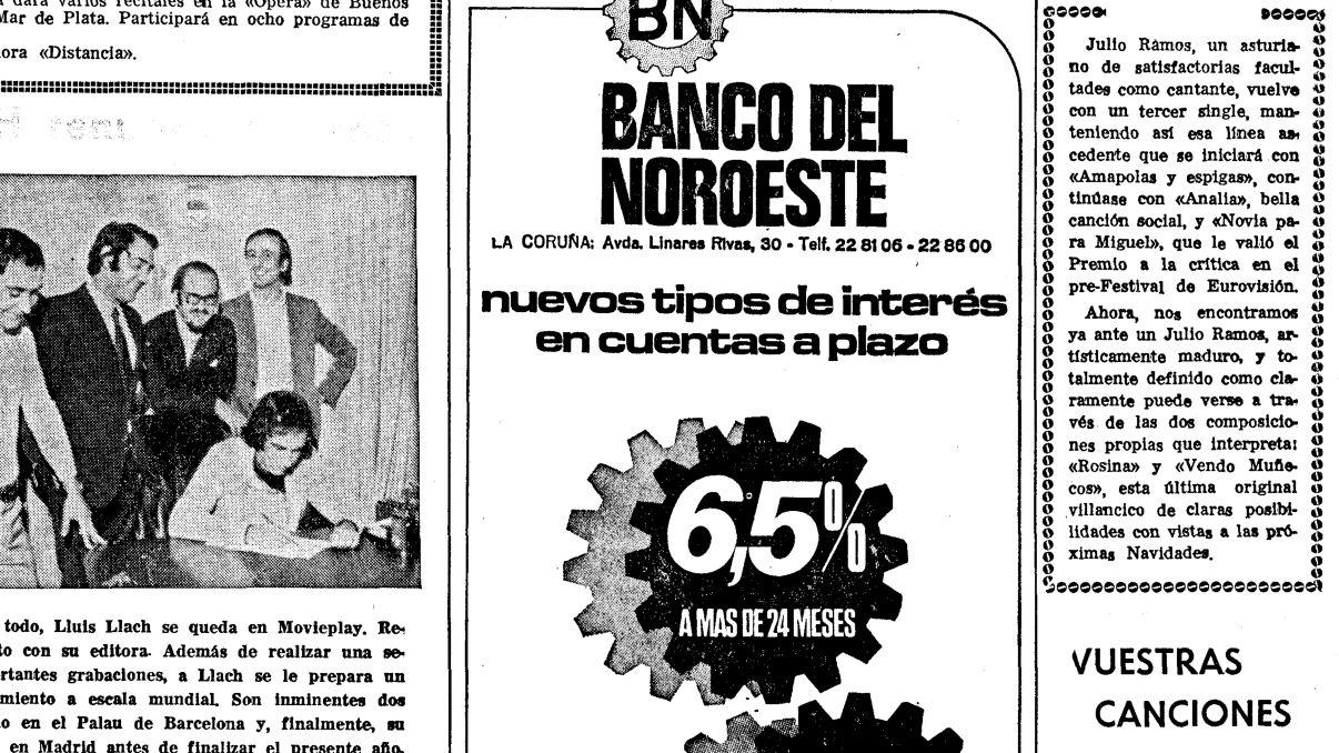 Anuncio en La Voz de Galicia del 25 de octubre de 1970