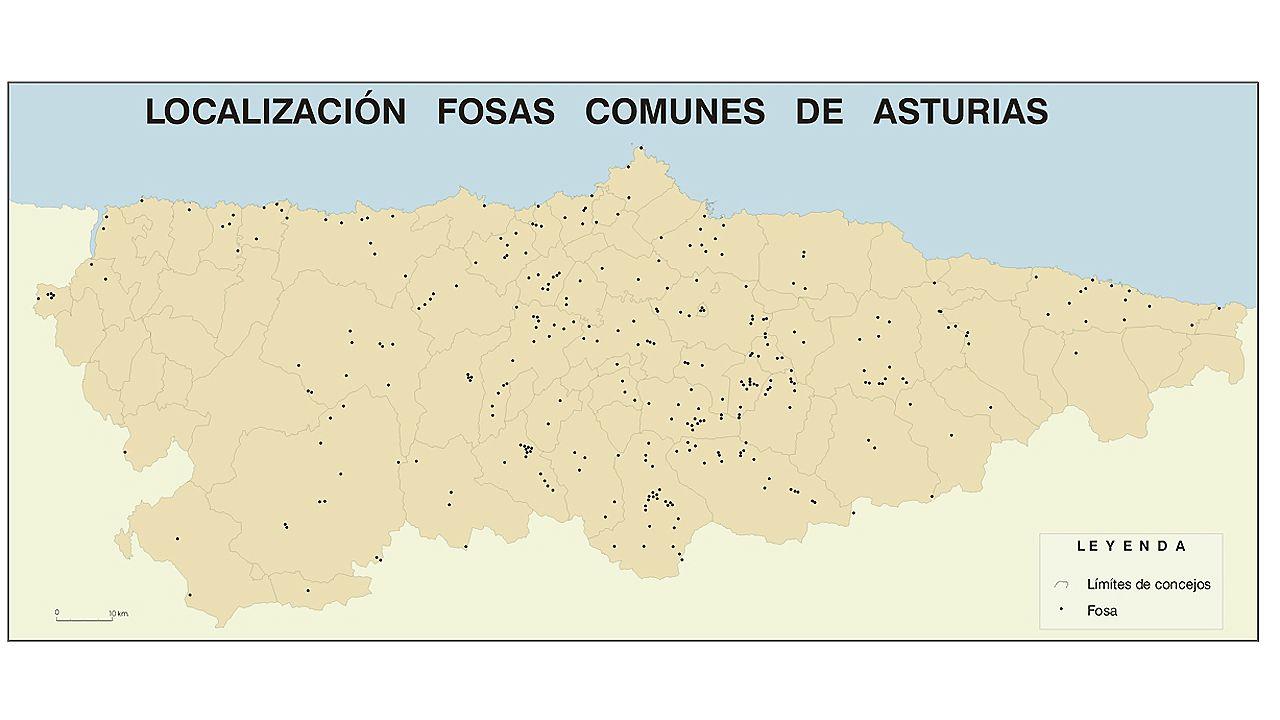Mapa de fosas comunes de la Guerra Civil en Asturias elaborado por la Universidad de Oviedo.