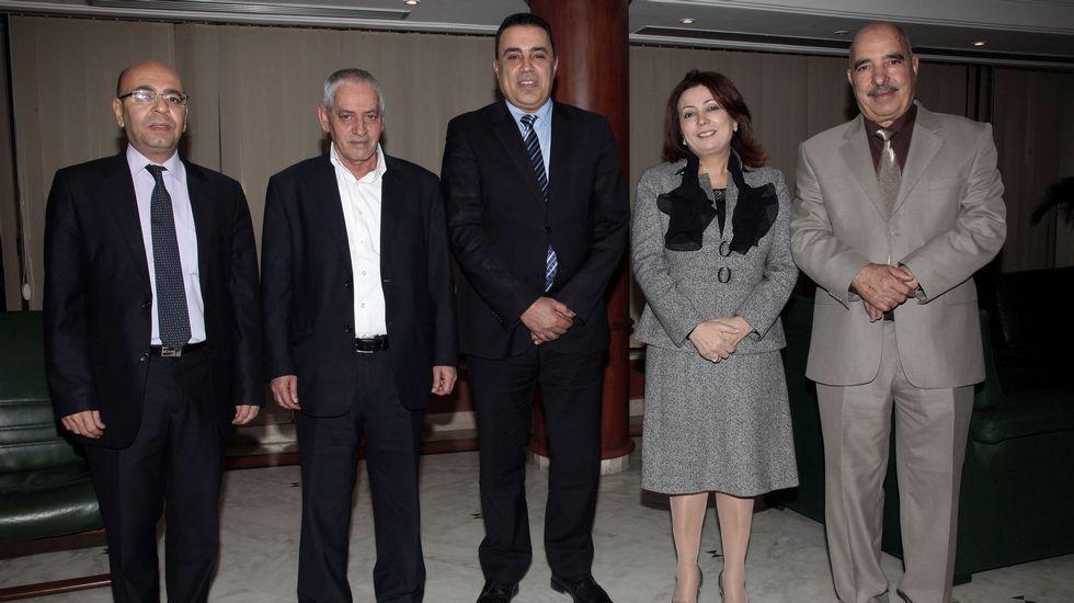 El Cuarteto de Diálogo Nacional de Túnez, Premio Nobel de la Paz 2015.Ameixeiras, no centro da imaxe, na presentación en Ourense