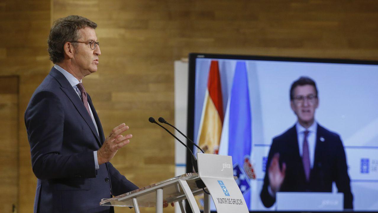 Lucas Martinón, junto a Alberto Núñez Feijoo, tras el Consello da Xunta