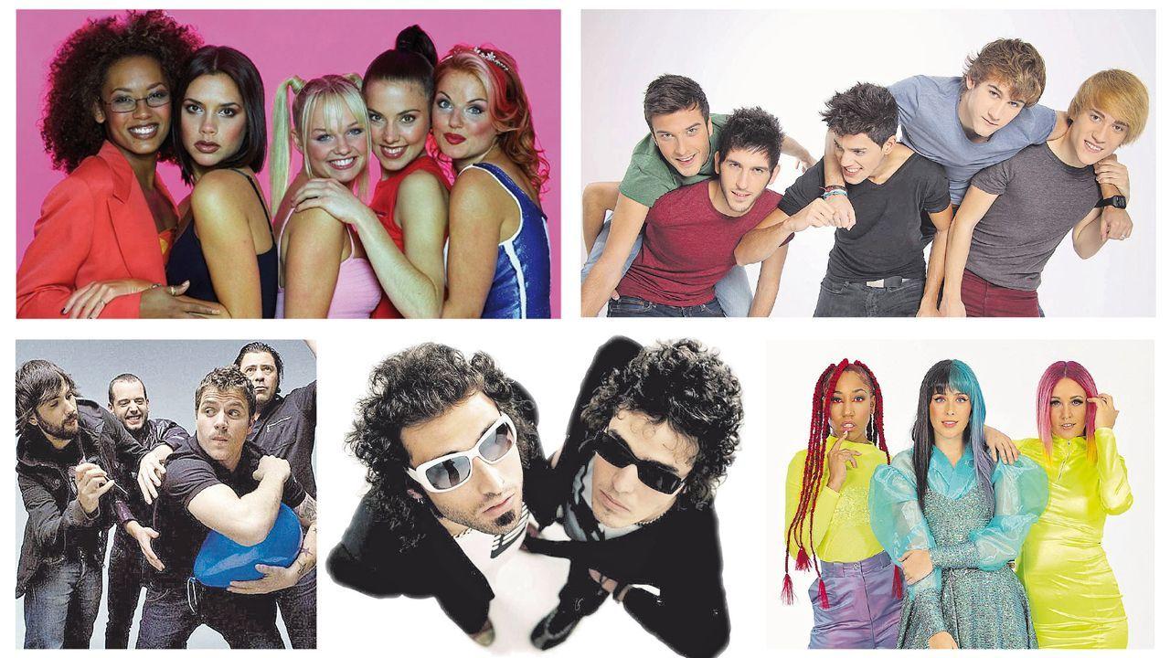 De izquierda a derecha y de arriba abajo, las Spice Girls, Auryn, El Canto del Loco, Pereza y las Sweet California