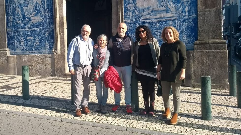 Xabier Rodó (primero por la izquierda) con otros profesores españoles del programa Piale en Oporto