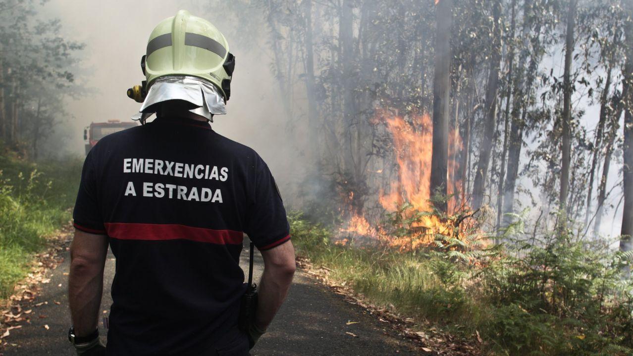 Las llamas calcinan un bajo de la calle Justicia.Incendios en Asturias
