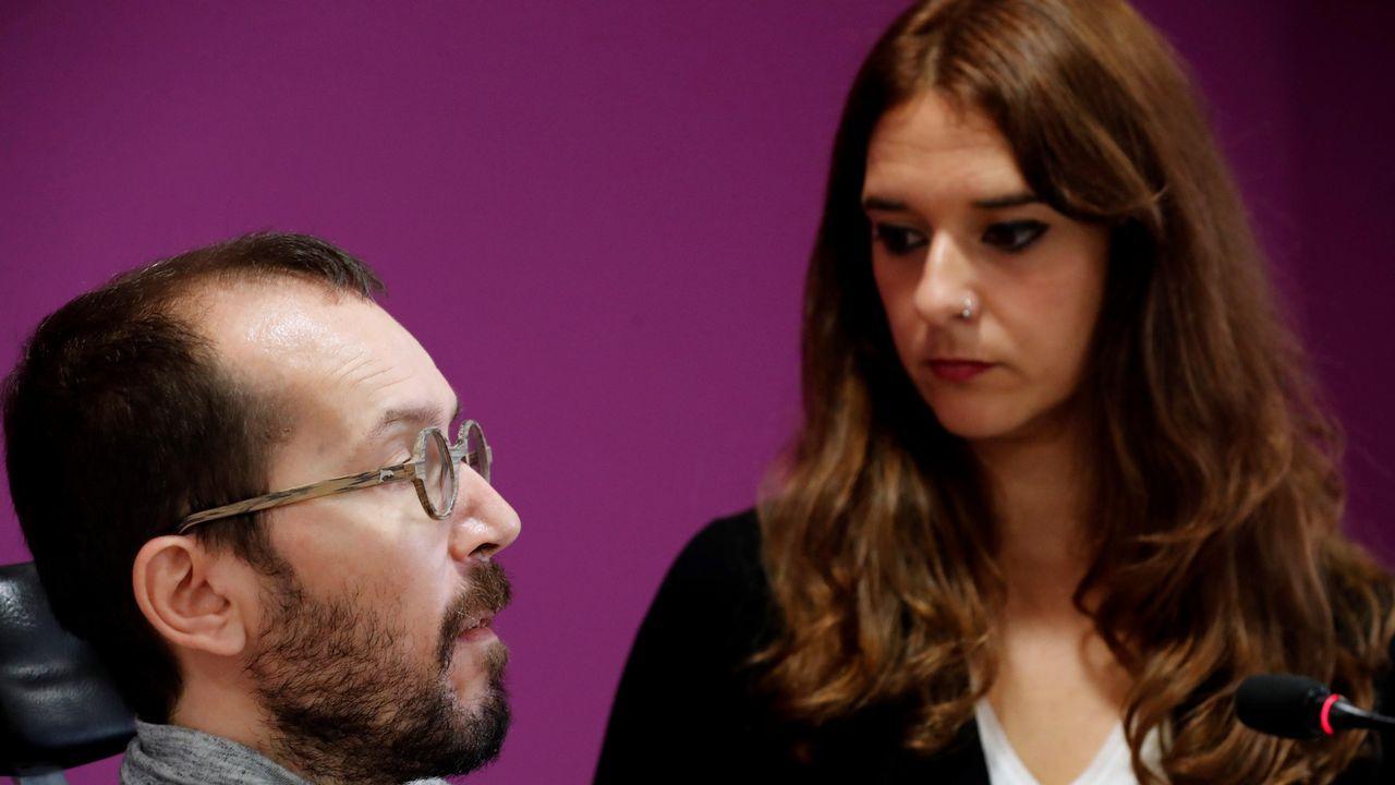 | EFE.La coportavoz de la ejecutiva de Podemos, Noelia Vera, con el secretario de organización del partido, Pablo Echenique