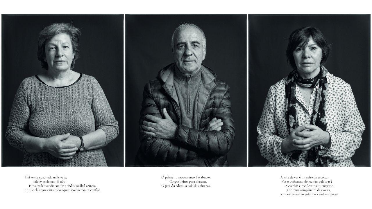 Tres dos retratos da serie: Pilar Taboada, Manuel Queijo e Preciosa Martínez