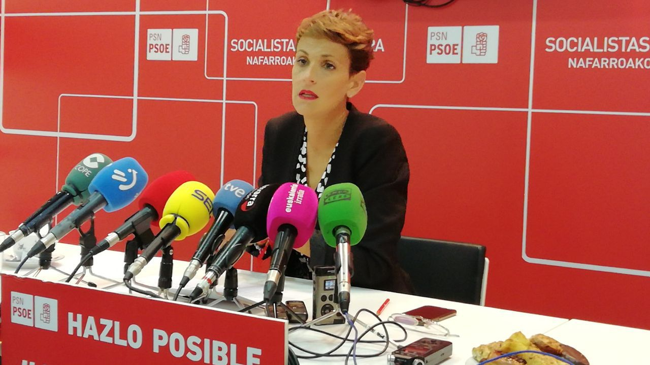 La secretaria general del PSN, María Chivite, se opone a la moción de censura en Estella