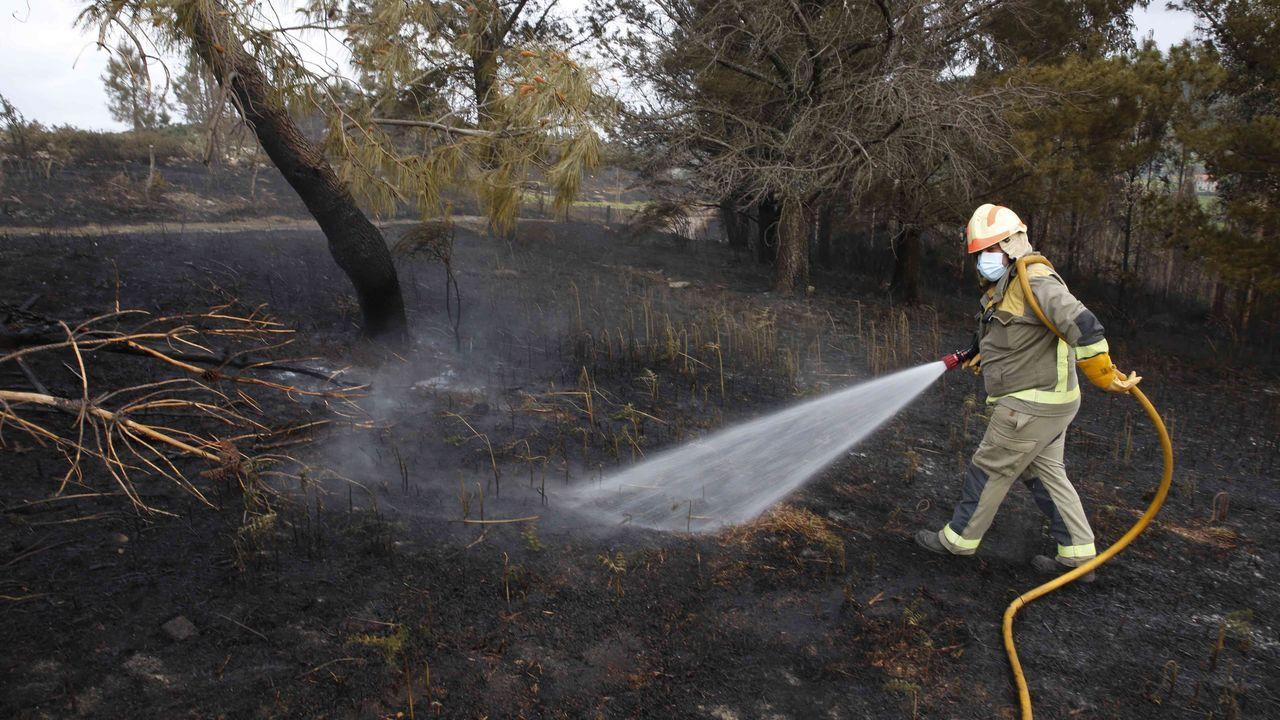 El incendio de Cerdedo-Cotobade afectó a unas 50 hectáreas de monte y se aproximó a las casas en Cuspedriños