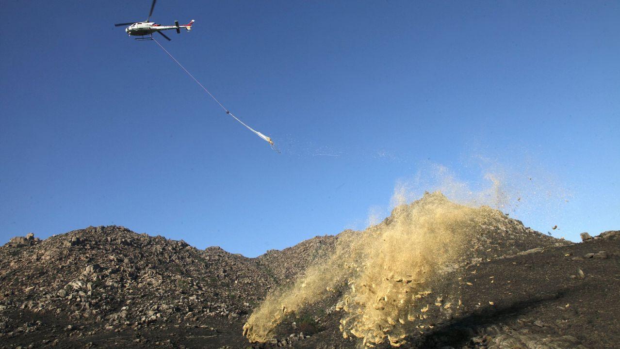 Un helicóptero arroja paja para impedir el arrastre de cenizas