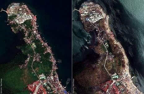 Imágenes vía satélite de la ciudad de Tacloban antes y después del paso del tifón «Haiyan».