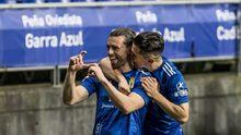 gol Rodri Rios Nieto Real Oviedo Zaragoza Carlos Tartiere.Rodri Ríos y Juanjo Nieto celebran el primer gol ante el Zaragoza