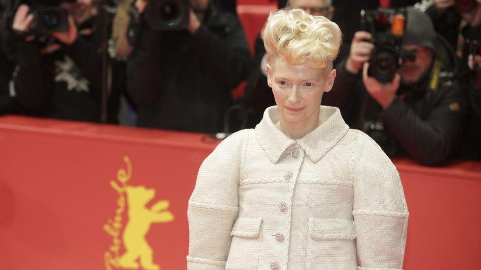 La actriz británica Tilda Swinton a su llegada a su llegada a la presentación de la película «¡Ave, César!».