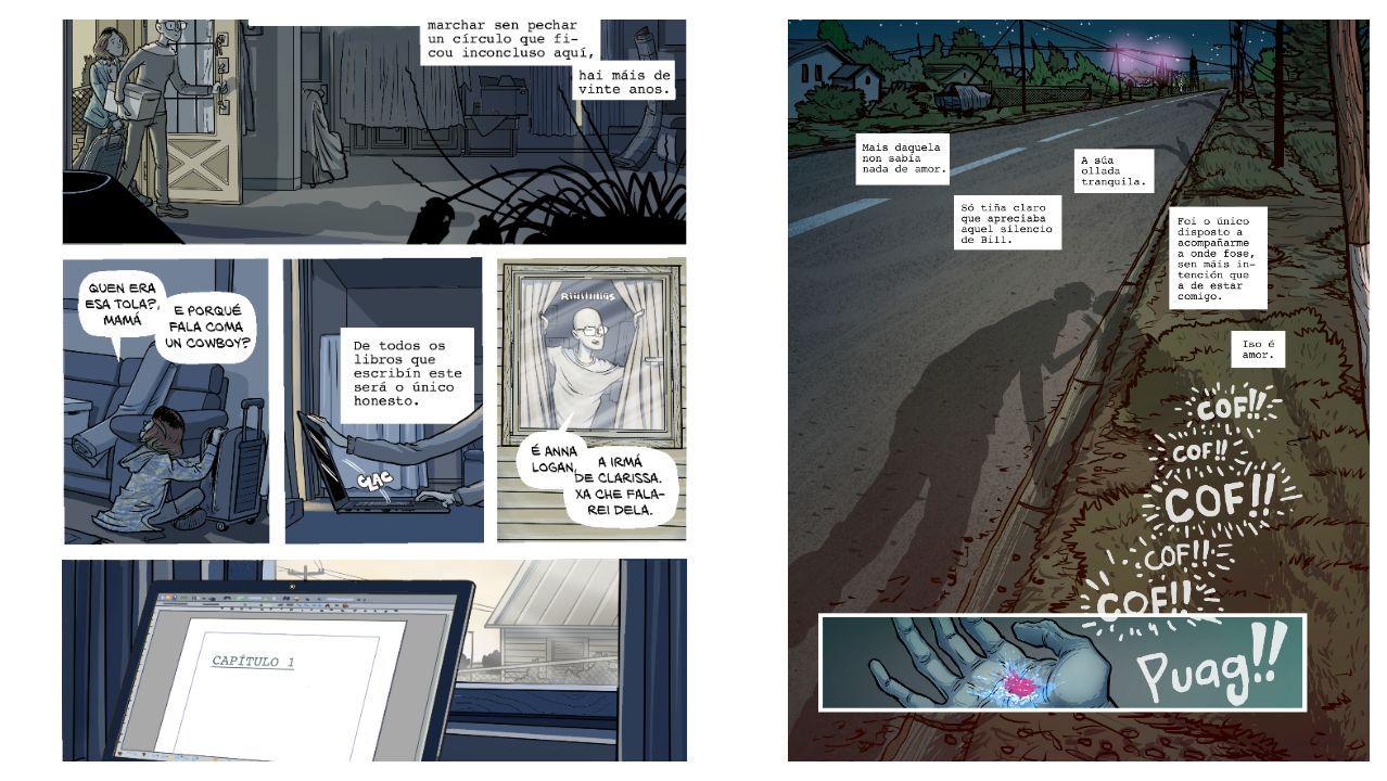 Detalle de dúas paxinas da adaptación do libro