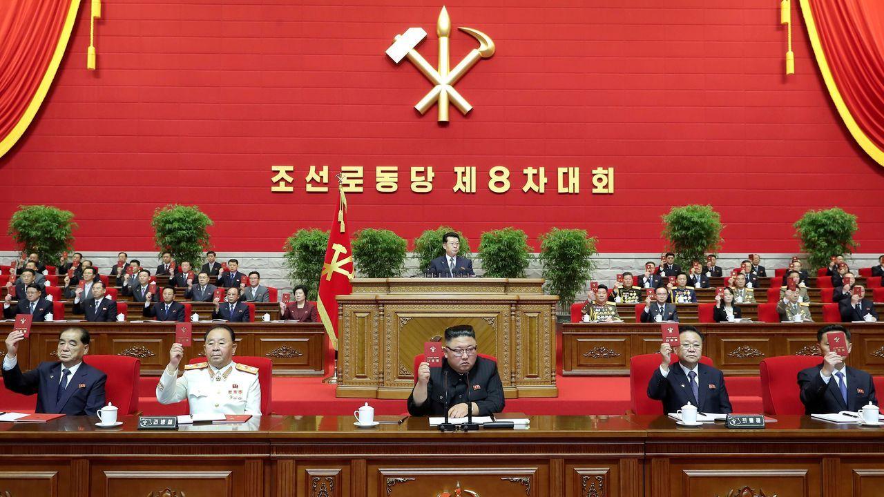 Kim Jong-un, en el congreso del partido norcoreano.El líder norcoreano, Kim Jong-un