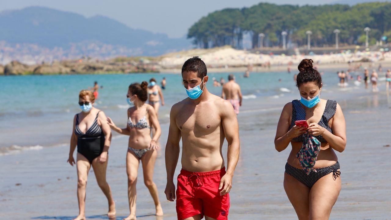 Playa de A Lanzada, en O Grove, en una imagen tomada este sábado 25 de julio