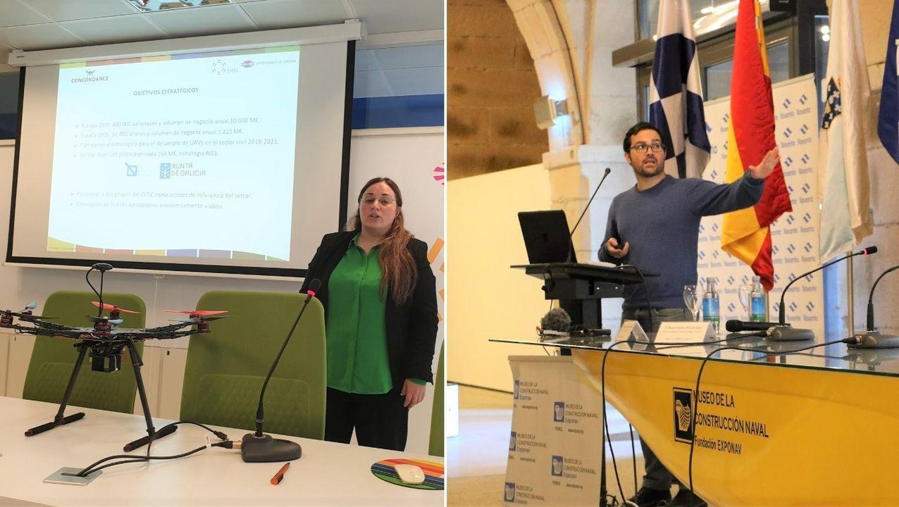 Los expertos en ciberseguridad e industria 4.0 de la Universidade da Coruña Paula Fraga Lamas, investigadora asociada de la Unidade Mixta de Investigación Navantia-UDC, y Tiago Fernández Caramés, profesor de la UDC. Ambos son investigadores en el CITIC