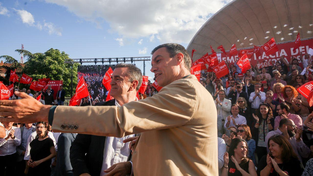 José Manuel Franco y Pedro Sánchez, el año pasado, en un mitin del PSOE