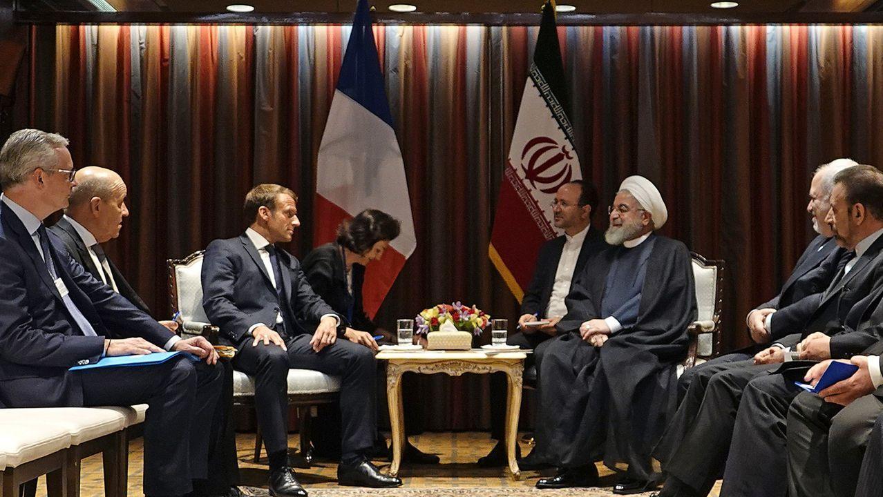 Emmanuel Macron y Hasan Rohaní, durante su reunión en la sede de la ONU