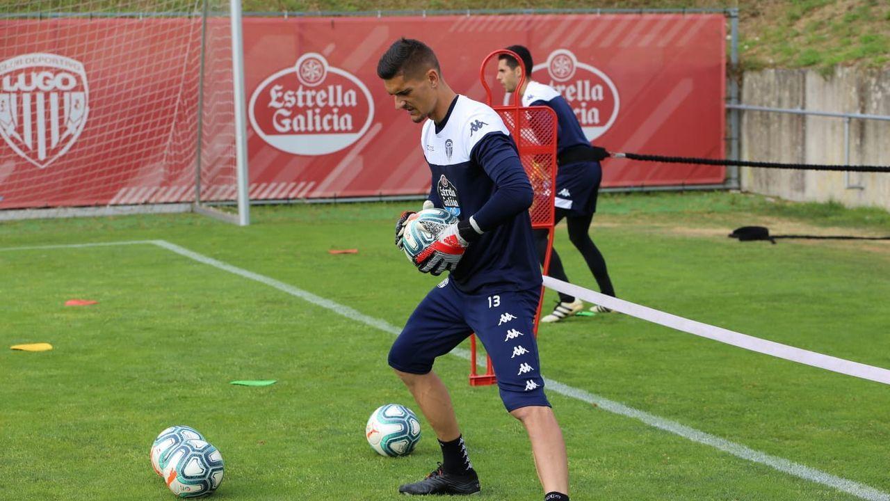 Cantero durante uno de los primeros entrenamientos de la temporada con el Lugo