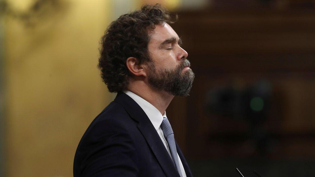 El portavoz parlamentario de Vox, Iván Espinosa de los Monteros, este martes, en el Congreso