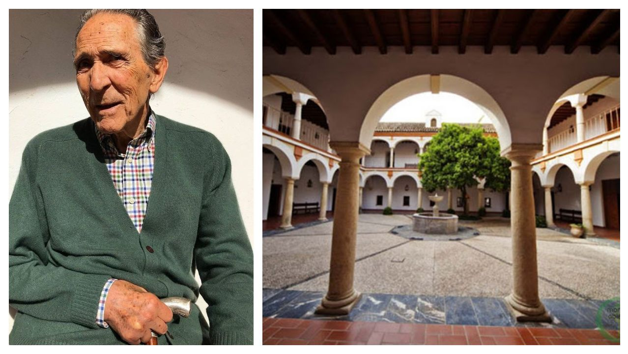 Gala, en una foto que la fundación colgó en Instagram a inicios de año. A la derecha, patio del edificio que acoge la sede en Córdoba