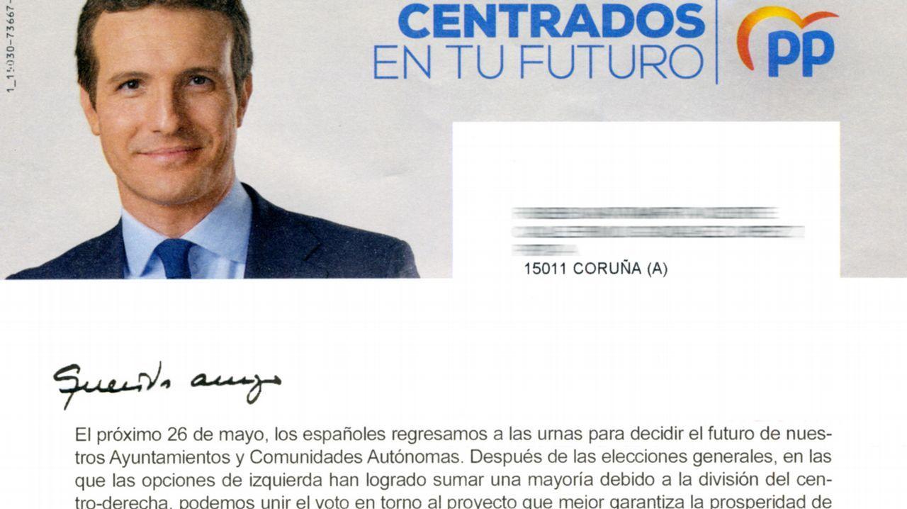 Detalle del encabezamiento de la carta a los electores enviada por Génova y que firma Pablo Casado