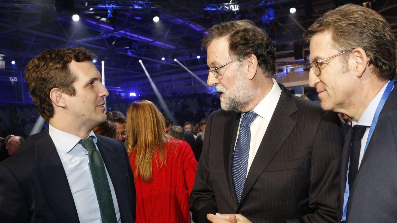 Casado, Rajoy y Feijoo en la convencion del PP del año pasado