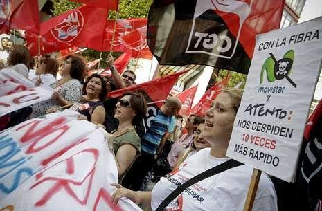 La plantilla de Atento en A Coruña secundó varias movilizaciones contra el ERE en verano.