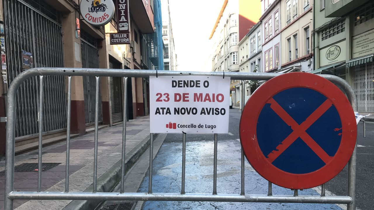 Valla en la Rúa Mallorca de Lugo