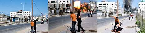 <span lang= es-es >Israel intensifica los ataques.</span> Las bombas israelíes mataron ayer a doce palestinos, entre ellos cinco miembros de una familia. En la ciudad de Gaza destruyó uno de los edificios de apartamentos más altos y lujosos, sorprendiendo a los transeúntes. Supervivientes del Holocausto condenaron en una carta la «matanza de palestinos».