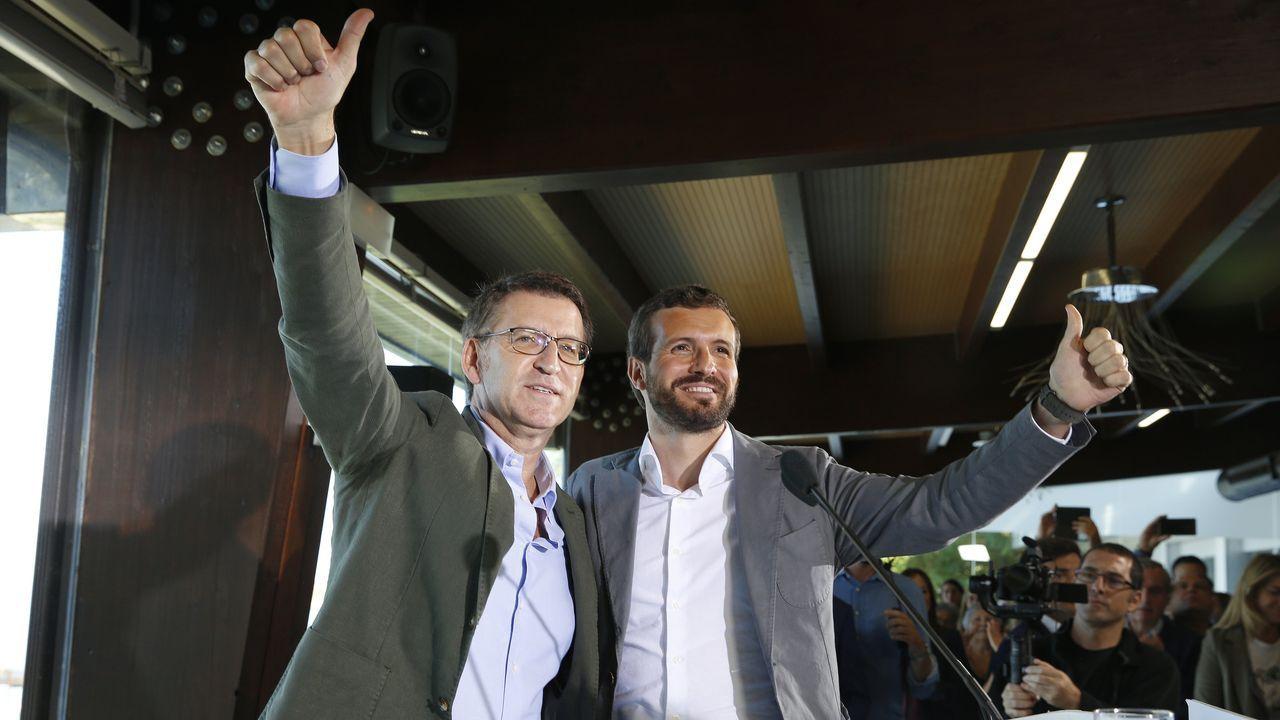 Núñez Feijoo y Pablo Casado, en un acto en Oleiros