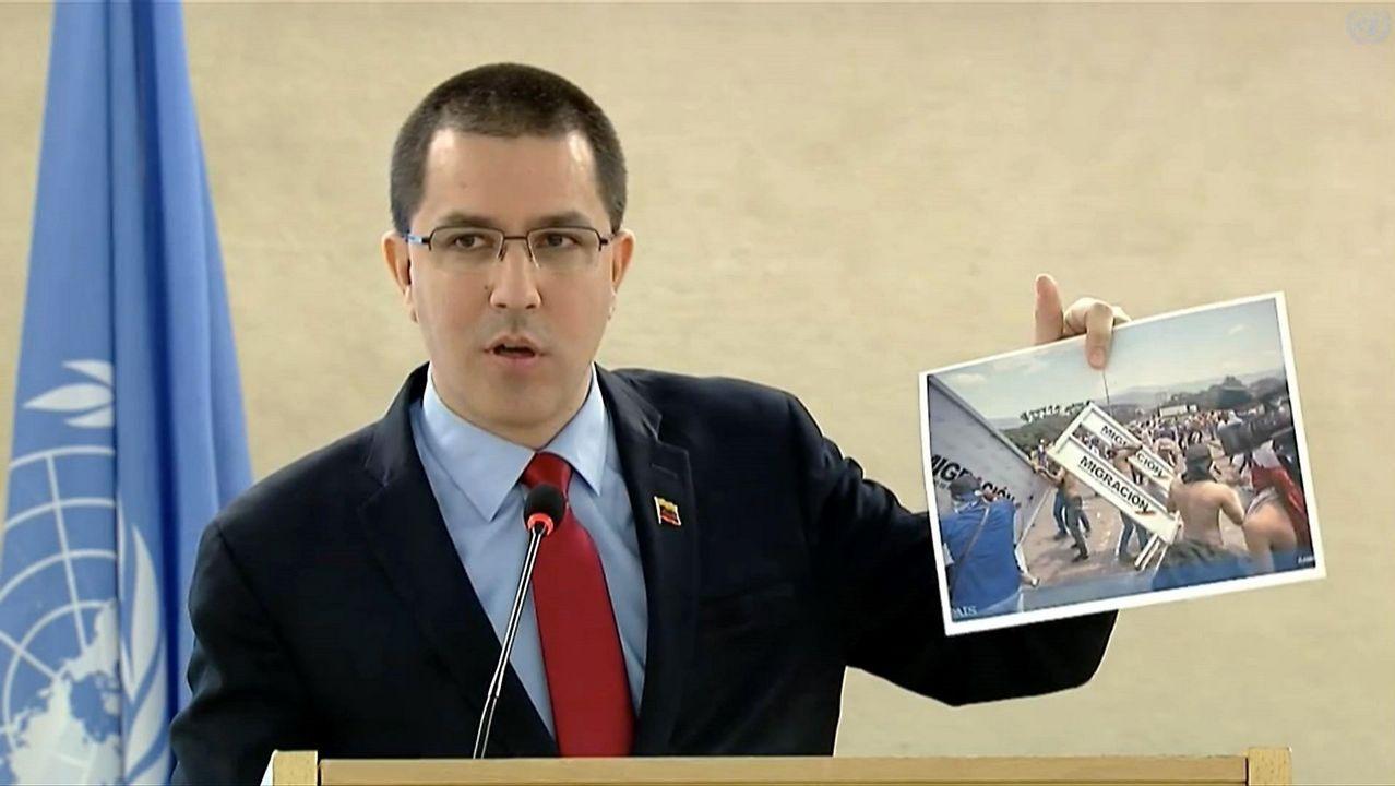 Venezuela se apaga.El ministro de Relaciones Exteriores de Venezuela, Jorge Arreaza, durante su intervención en el Consejo de Derechos Humanos de la ONU