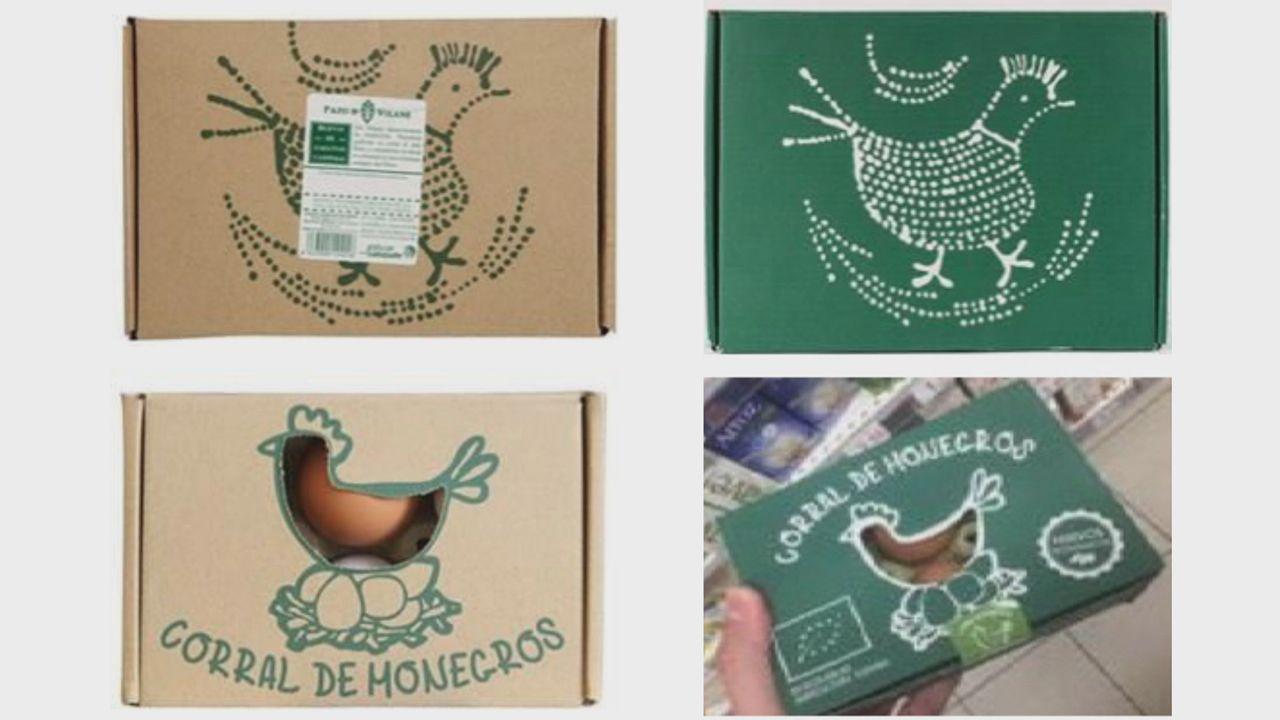 Imagenes de los envases usados por Pazo de Vilane y Corral de Monegros con los que la primera argumenta su postura