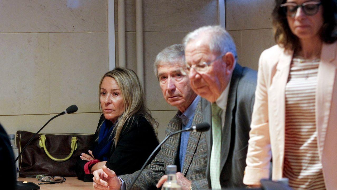 Marina Castaño, Dositeo Rodríguez, Covadonga Rodríguez y Tomás Cavanna en una imagen del juicio el pasado mes de marzo