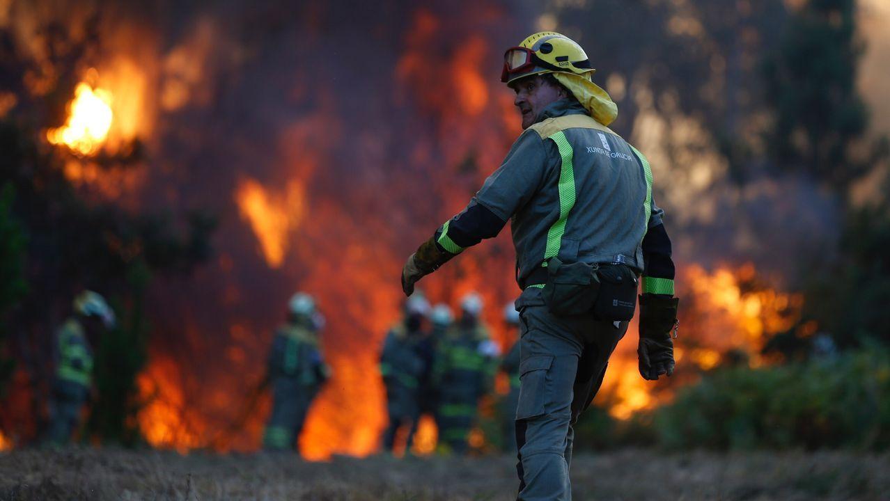Incendio forestal en Ames.Personal técnico de incendios forestales se concentran ante el edificio de la Xunta en Lugo
