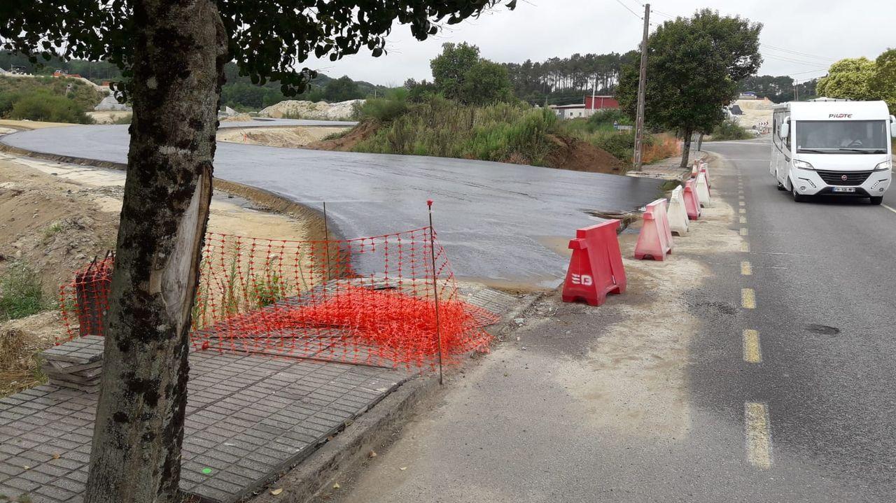 Una caminata visual por la Ruta de la Encomienda.Un aspecto de los trabajos de reparación del firme dañado por el paso de vehículos pesados