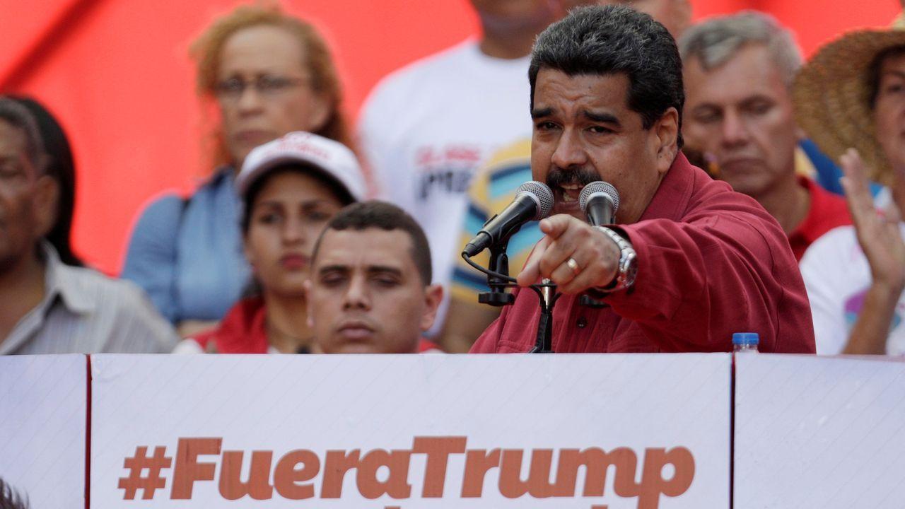 Nicolás Maduro, en una imagen de archivo, durante un mitin contra Trump en Caracas