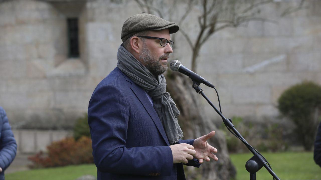 La concentración contra Vox acabó con incidentes.El coordinador federal de Izquierda Unida, Alberto Garzón