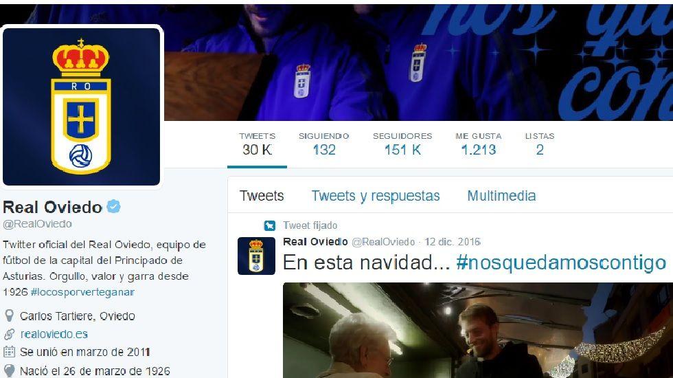 Perfil de Twitter del Real Oviedo