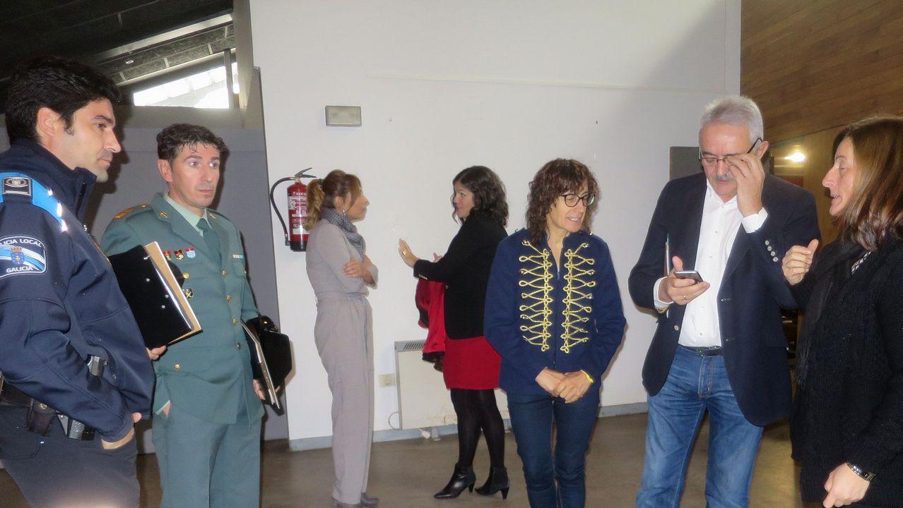 Presentación de Milagrosistas do Ano .Susana López Abella, Alfonso Rueda, Nidia Arévalo y Sara Cebreiro en la presentación del programa de subvenciones para víctimas de violencia de género