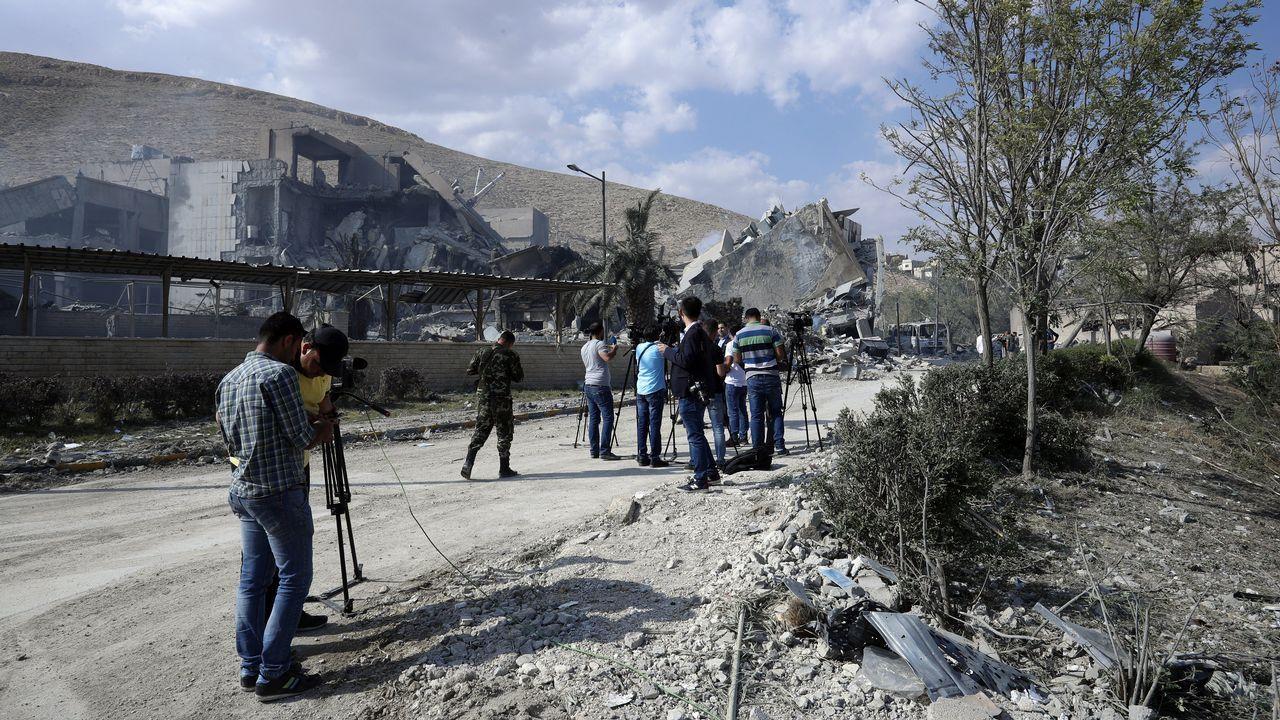 El antes y el después de los tres objetivos del ataque aliado sobre Siria