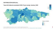 Mapa de la tasa por concejos, en función de la población, de los casos confirmados en Asturias de COVID-19 hasta el 7 de abril