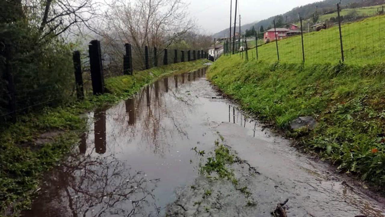 Camino inundado en la localidad de Villarín (Trubia), en el municipio de Oviedo