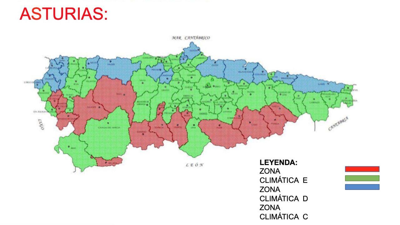 temporal olas.Mapa de las zonas climáticas en Asturias
