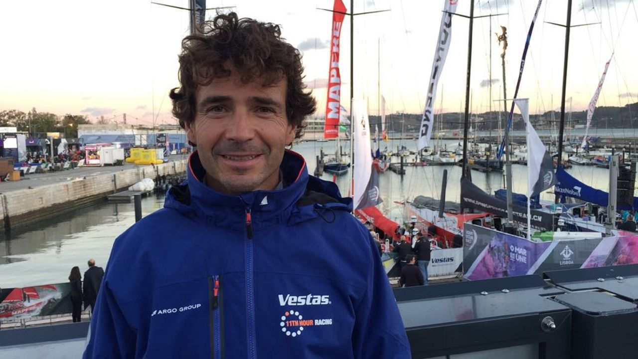 El regatista coruñés, durante su última participación en la regata oceánica, en el 2017.