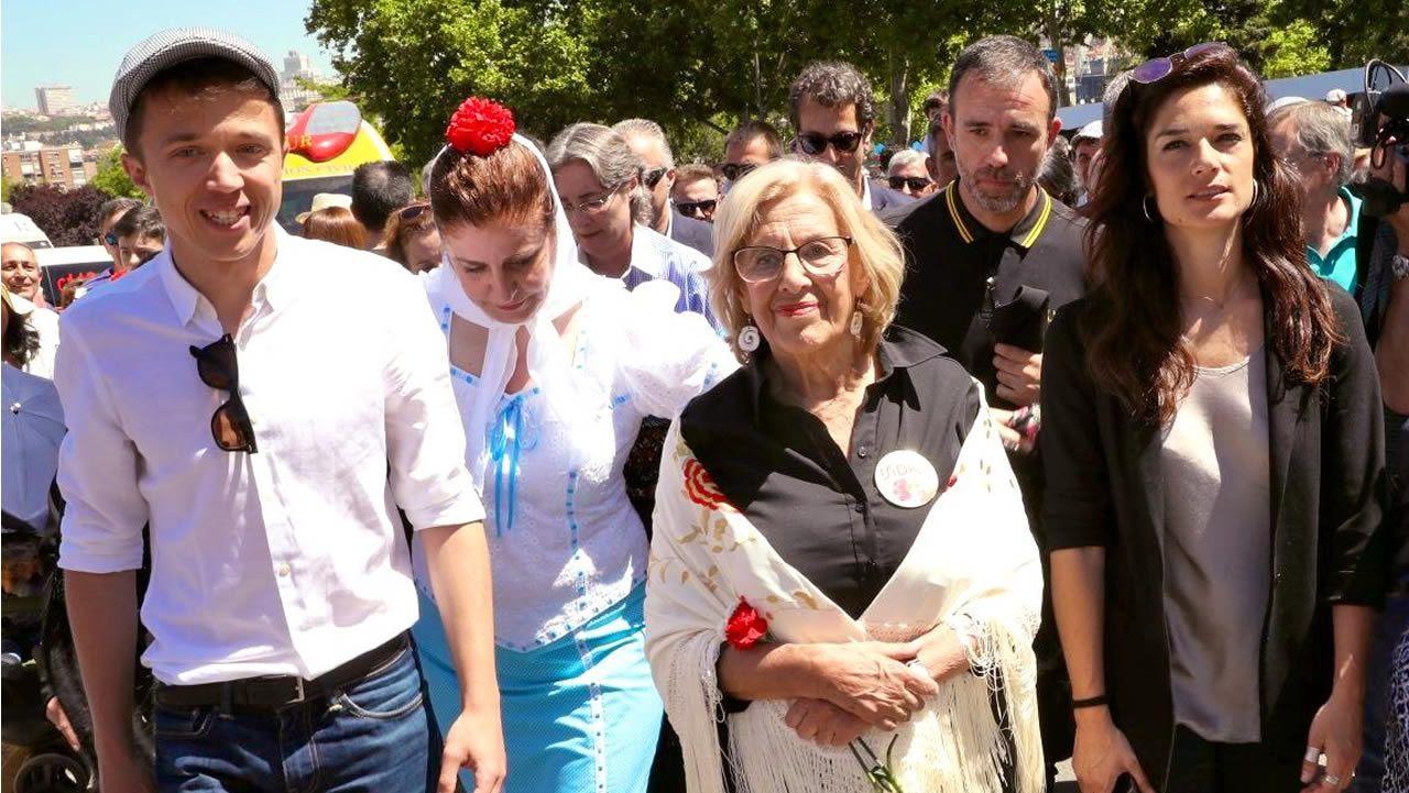 Ramón Espinar lanza un órdago a Iglesias y Montero.Manuela Carmena, junto a Íñigo Errejón, Esther Gómez Morante y Clara Serra Sánchez