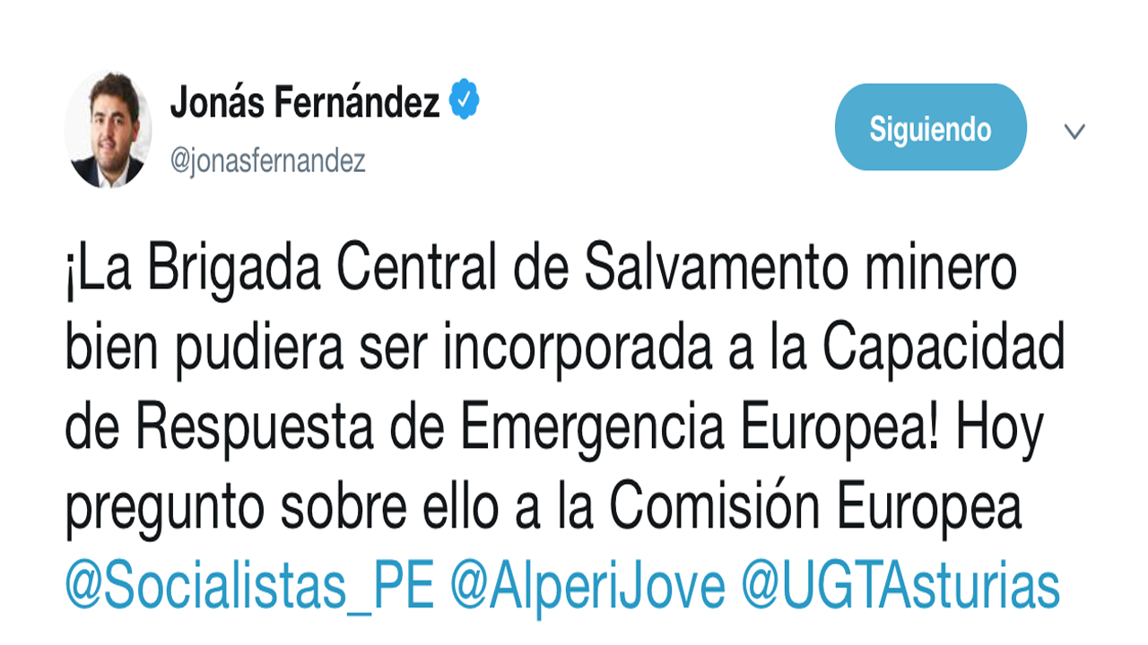 Tuit de Jonás Fernández sobre la cuestión de incorporar la Brigada de Salvamento al servicio de emergencias europeo