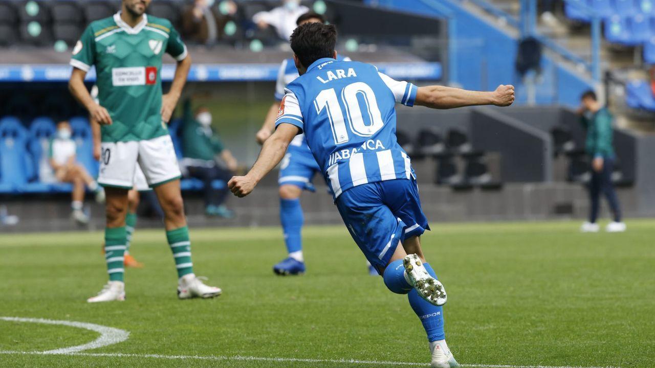 Gandoy y Valín, en un entrenamiento del Deportivo