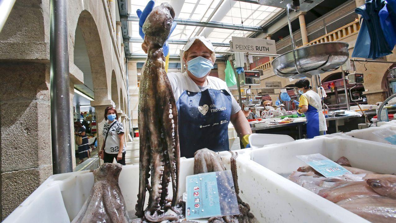Pulpo gallego en la lonja de Ribeira, el 1 de julio, cuando reabrió la pesquería tras un mes de veda, la mitad de los dos habituales