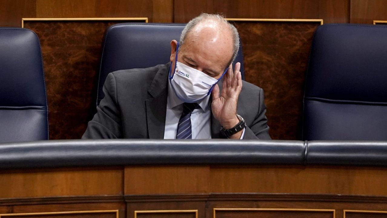 El ministro de Justicia, Juan Carlos Campo, este miércoles, en la sesión de control al Gobierno en el Congreso