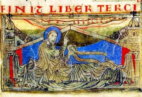 La aparición del Apóstol a Carlomagno es una de las miniaturas más representativas del Calixtino.